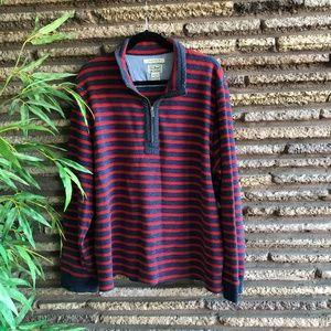 LL Bean Striped1/4 Zip Heavy Cotton Henley Polo